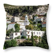 Dhermi Traditional Village View In Southern Albania Throw Pillow