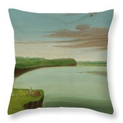Distant View Of The Mandan Village Throw Pillow