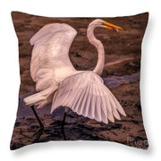 Egret With Fish Throw Pillow