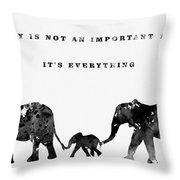 Elephant Family-black Throw Pillow