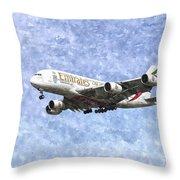 Emirates A380 Airbus Watercolour Throw Pillow