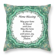 English Home Blessing Throw Pillow