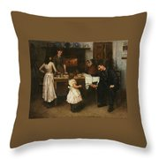 Family Scene In A Kitchen Throw Pillow