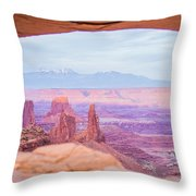 famous Mesa Arch in Canyonlands National Park Utah  USA Throw Pillow