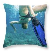 Female Snorkeling Throw Pillow