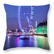 Ferris Wheel At The Waterfront Throw Pillow