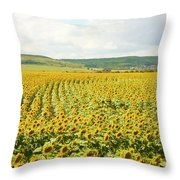 Field With Sunflowers Throw Pillow