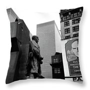 Film Homage The Fighting 69th 1940 Fr. Duffy Statue Yul Brynner Palace Theater New York 1977 Throw Pillow