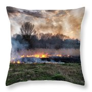 Fires Sunset Landscape Throw Pillow