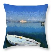 Fishing Boats In Nafplio Town Throw Pillow