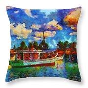 Fishing Boats Throw Pillow