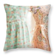 Floral Pattern Young Girl Dresses In Shop Throw Pillow