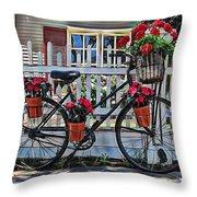 Flower Bike Collection Throw Pillow