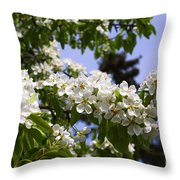 Flowering Pear Branch In The Garden Throw Pillow