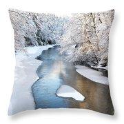 Fresh Snowfall Gauley River Throw Pillow