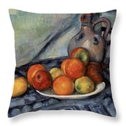 Fruit And A Jug On A Table Throw Pillow