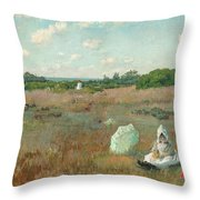 Gathering Autumn Flowers Throw Pillow