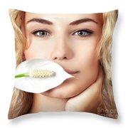 Gentle Woman Portrait Throw Pillow