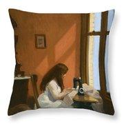 Girl At Sewing Machine Throw Pillow