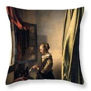 Girl Reading A Letter By An Open Window Throw Pillow