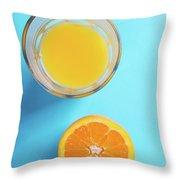 Glass Of Orange Juice And Half Of Orange Throw Pillow