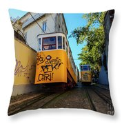Gloria Funicular, Lisbon, Portugal Throw Pillow