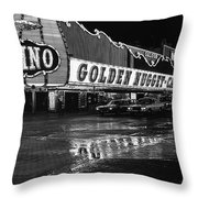 Golden Nugget Casino At Night In The Rain Las Vegas Nevada 1979 Throw Pillow
