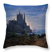 Gothic Church On A Rock By The Sea  Throw Pillow