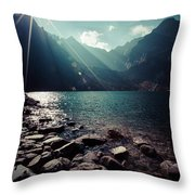 Green Water Mountain Lake Morskie Oko, Tatra Mountains, Poland Throw Pillow