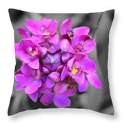 Fuchsia Ground Orchid Throw Pillow