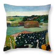 Haystacks In Brittany Throw Pillow