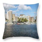 Honolulu Skyline Panorama Throw Pillow