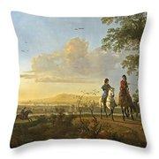 Horsemen And Herdsmen With Cattle Throw Pillow