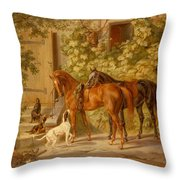 Horses At The Porch Throw Pillow