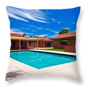 House And Pool Throw Pillow
