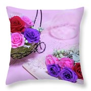 How To Make Preservrd Flower And Clay Flower Arrangement, Colorf Throw Pillow