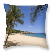 Hulopoe Beach, Palm Tree Throw Pillow
