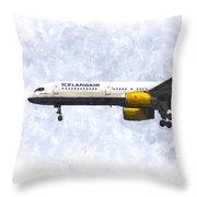 Icelandair Boeing 757 Art Throw Pillow