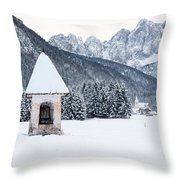 Idyllic Landscapes Immersed In The Snow. The Dream Of The Julian Alps And Valbruna Throw Pillow