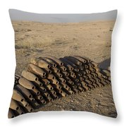 Inert Artillery Shells Are Stacked Throw Pillow by Terry Moore