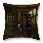 Interior With A Young Couple Throw Pillow