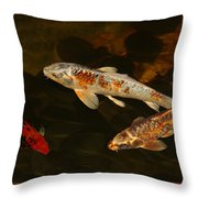 3 Koi Throw Pillow