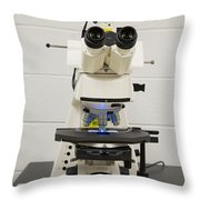 Laboratory Fluorescent Microscope Throw Pillow