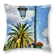 Lampost With Flowers In Nafplio Town Throw Pillow