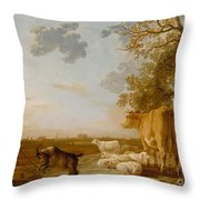 Landscape With Cattle Throw Pillow