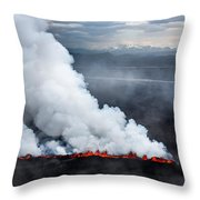 Lava And Plumes From The Holuhraun Throw Pillow