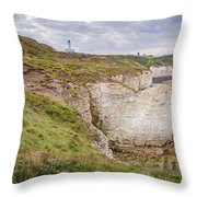 Lighthouse And Cliffs Throw Pillow