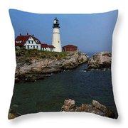 Lighthouse - Portland Head Maine Throw Pillow by Frank Romeo