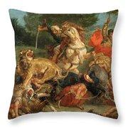 Lion Hunt Throw Pillow