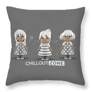 3 Little 3d Girls In Chilloutzone Throw Pillow
